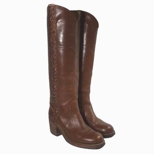 FRYE Vtg 70's Campus Brown Leather Tall Boots 8549